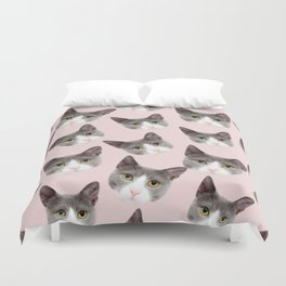 girly cute pink pattern snowshoe cat Duvet Cover