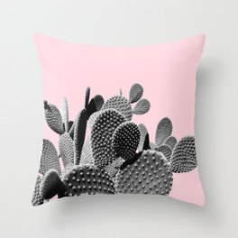 Bunny Ears Cactus on Pastel Pink #cactuslove #tropicalart Throw Pillow