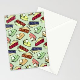 Easy As Pie - cute hand drawn illustrations of pie on sage green Stationery Cards