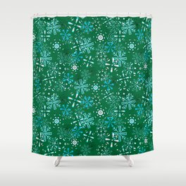 Snowflakes Falling Green Background, Christmas and Holiday Fantasy Collection Shower Curtain