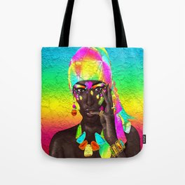 Beautiful African woman in a colorful head scarf Tote Bag