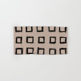 Square Stroke Dots Black on Nude Hand & Bath Towel