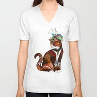 wizard V-neck T-shirts featuring Wizard Cat by Sandra Dieckmann
