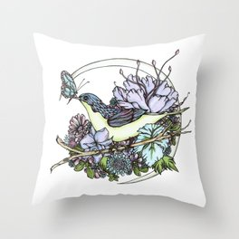 Bird and Butterfly Friendship in Pastel Throw Pillow