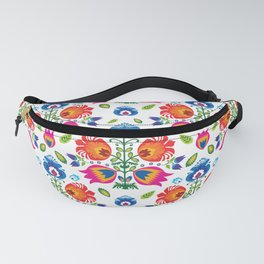 Folklore with red, pink and blue flowers Fanny Pack