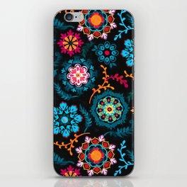 Suzani Inspired Pattern on Black iPhone Skin