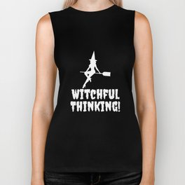 Witchful Thinking Halloween Spooky Funny T-Shirt Biker Tank