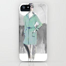 Woman in Green Coat iPhone Case