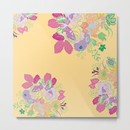 Petite Had Drawn Collection Bouquet Metal Print