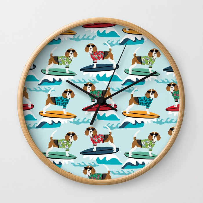 Beagle Surfing Pattern Cute Pet Gifts Dog Lovers Beagles Wall Clock