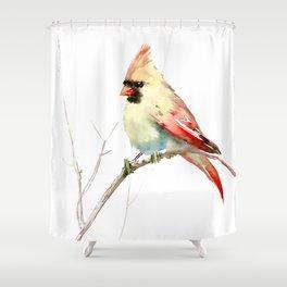 Northern Cardinal (female Cardinal bird) Shower Curtain
