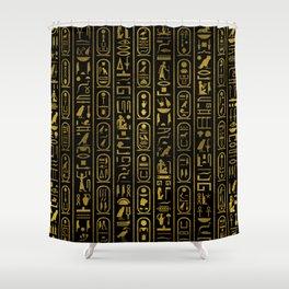 Egyptian Ancient Gold hieroglyphs on black Shower Curtain