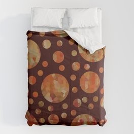 Orange Circles Against Dark Red Comforters