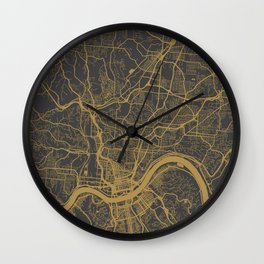 Cincinnati map Wall Clock