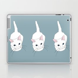 Kitty cat Illustrated Print White Pink Blue Laptop & iPad Skin