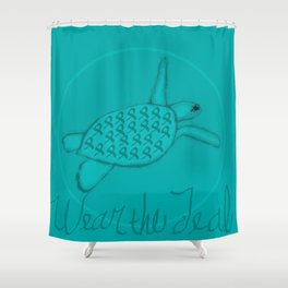 Wear the Teal Ovarian Cancer Awareness Sea Turtle Shower Curtain