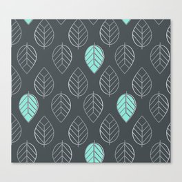 Mint & Silver Leaves Pattern & Slate Canvas Print