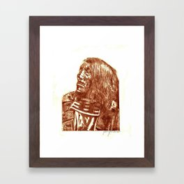 Native Etch in warm brown Framed Art Print