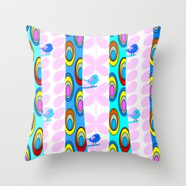 Birds and colorful trees Throw Pillow