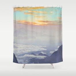 Sea of Clouds (Unkai, Ho-o-San) Hiroshi Yoshida Modern Japanese Woodblock Print Shower Curtain