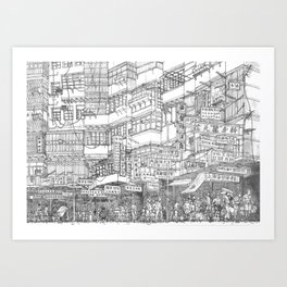 Hong Kong. Kowloon Walled City Art Print