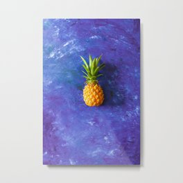 ripe pineapple on a blue background Metal Print