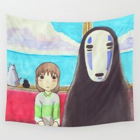 spirited away Wall Tapestries featuring Spirited Away by Janice Wong