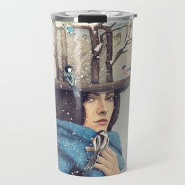 The Lady With The Bird Feeder Hat Travel Mug