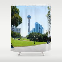 dallas Shower Curtains featuring Reunion Tower, Dallas by Robert McHugh
