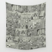 anarchy Wall Tapestries featuring dystopian toile mono by Sharon Turner