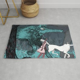 Woman Wolf wandering   magical forest/  Rug