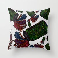 beer Throw Pillows featuring Beer by Sharif El Fatatry