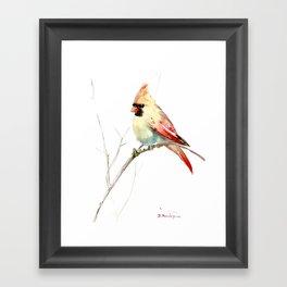Northern Cardinal (female Cardinal bird) Framed Art Print