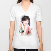 perfume V-neck T-shirts featuring perfume by tatiana-teni