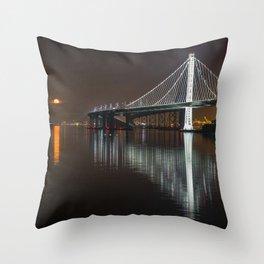 Full Moon & New Bay Bridge, San Francisco Throw Pillow