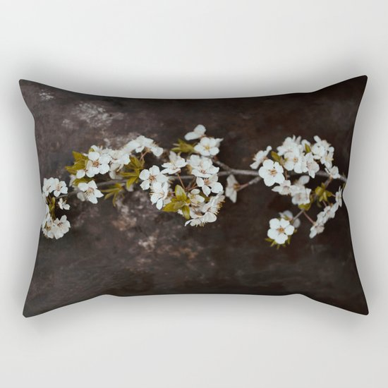 Cherry Blossom on black  Rectangular Pillow