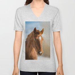 Brown Horse Winter Sky Unisex V-Neck