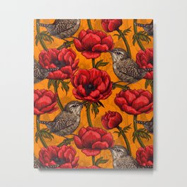 Wrens in a red anemone garden     Metal Print