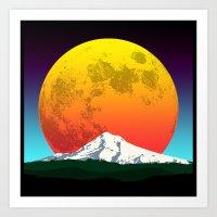 Moon Rising Over Mountain Blue Art Print