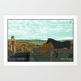 Trans America Bike Race - White Bird Hill Art Print