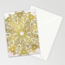 Golden Mandala on Pink Marble Stationery Cards