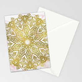 Golden Mandala on Pink Marble Stationery Cards