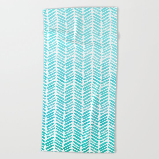 Handpainted Chevron pattern-small-light green and aqua Beach Towel