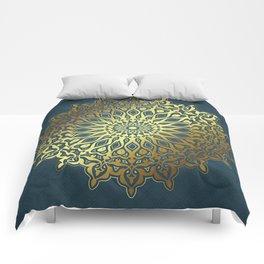 Blue Golden Mandala Comforters