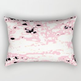 Lava Pattern Abstract Rosé and White Rectangular Pillow