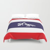 thailand Duvet Covers featuring Thailand Flag, Roosters Sparring by mailboxdisco