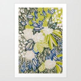 White chrysanthemums -ink floral Art Print