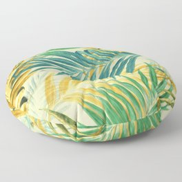 Palm Leaves in Yellow Floor Pillow