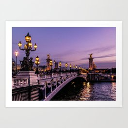 Sunset over Paris Bridge (Color) Art Print