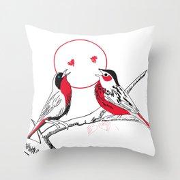 Loving red black birds Throw Pillow